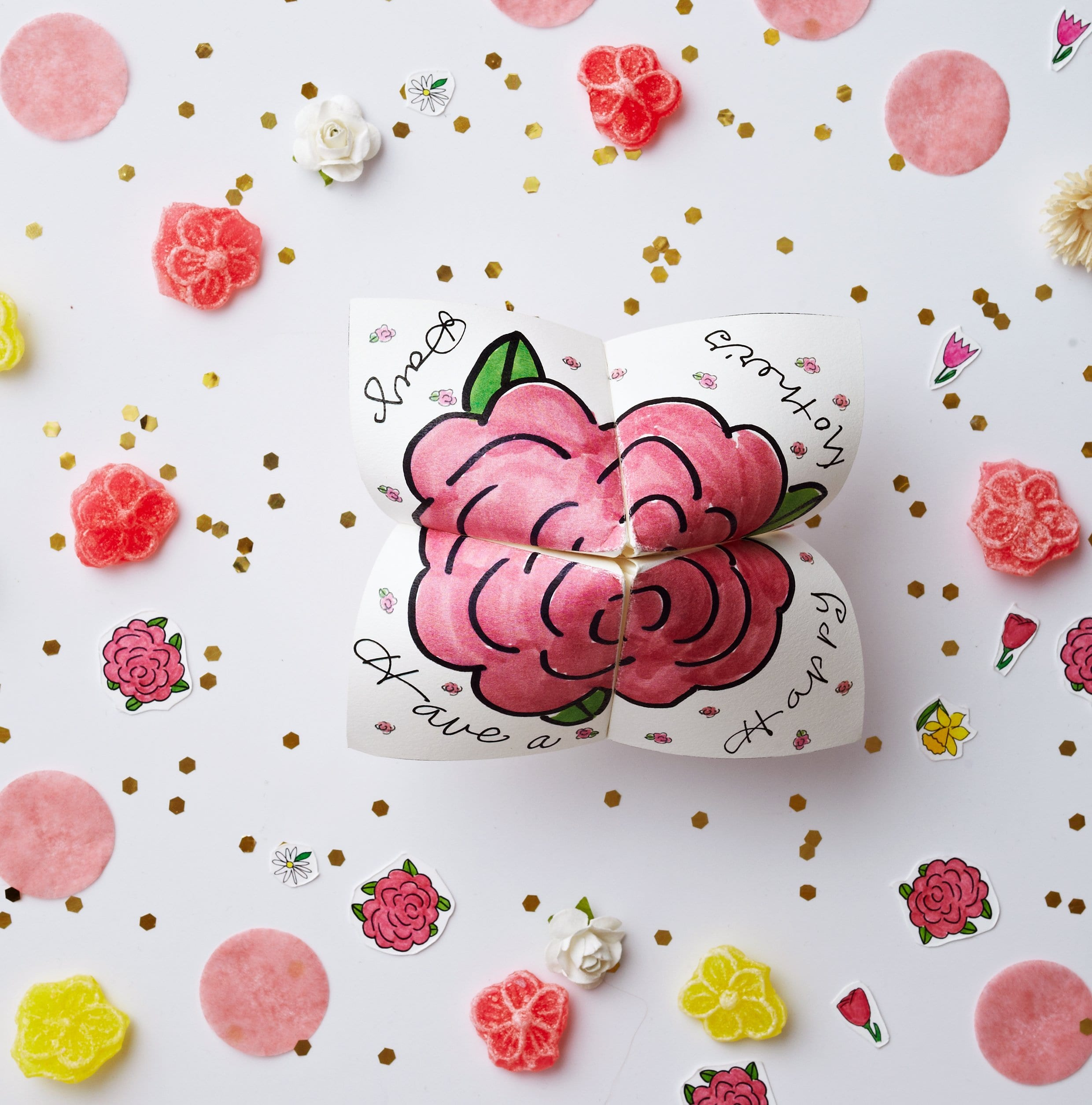 Darcy Miller Mother's Day Cootie Catcher, party, favor, flower, spring