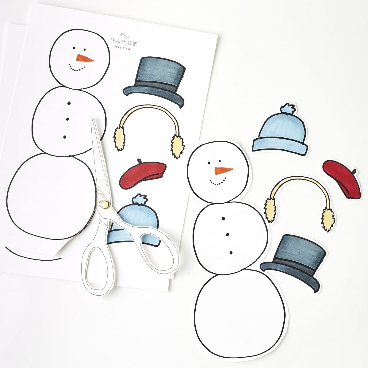 Darcy Miller Designs_kid's craft, paper doll, snowman, gift bag, DIY gift, holiday, winter party idea