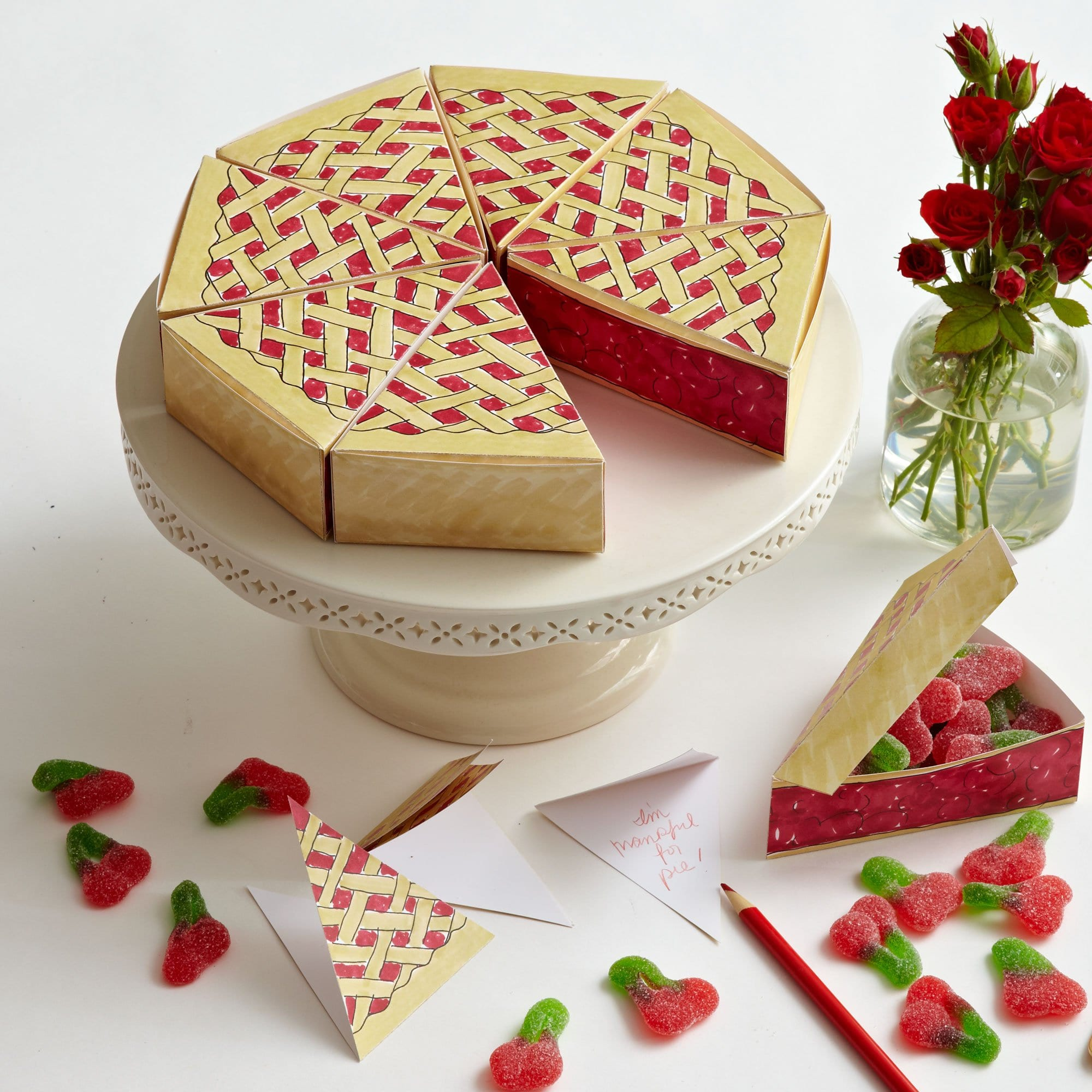 Darcy Miller Designs Paper Pie Box Favors Thanksgiving, Pie, Favor, DIY Box, Pumpkin Pie, Cherry Pie, Paper Craft, Downloadable Template, Party Favor