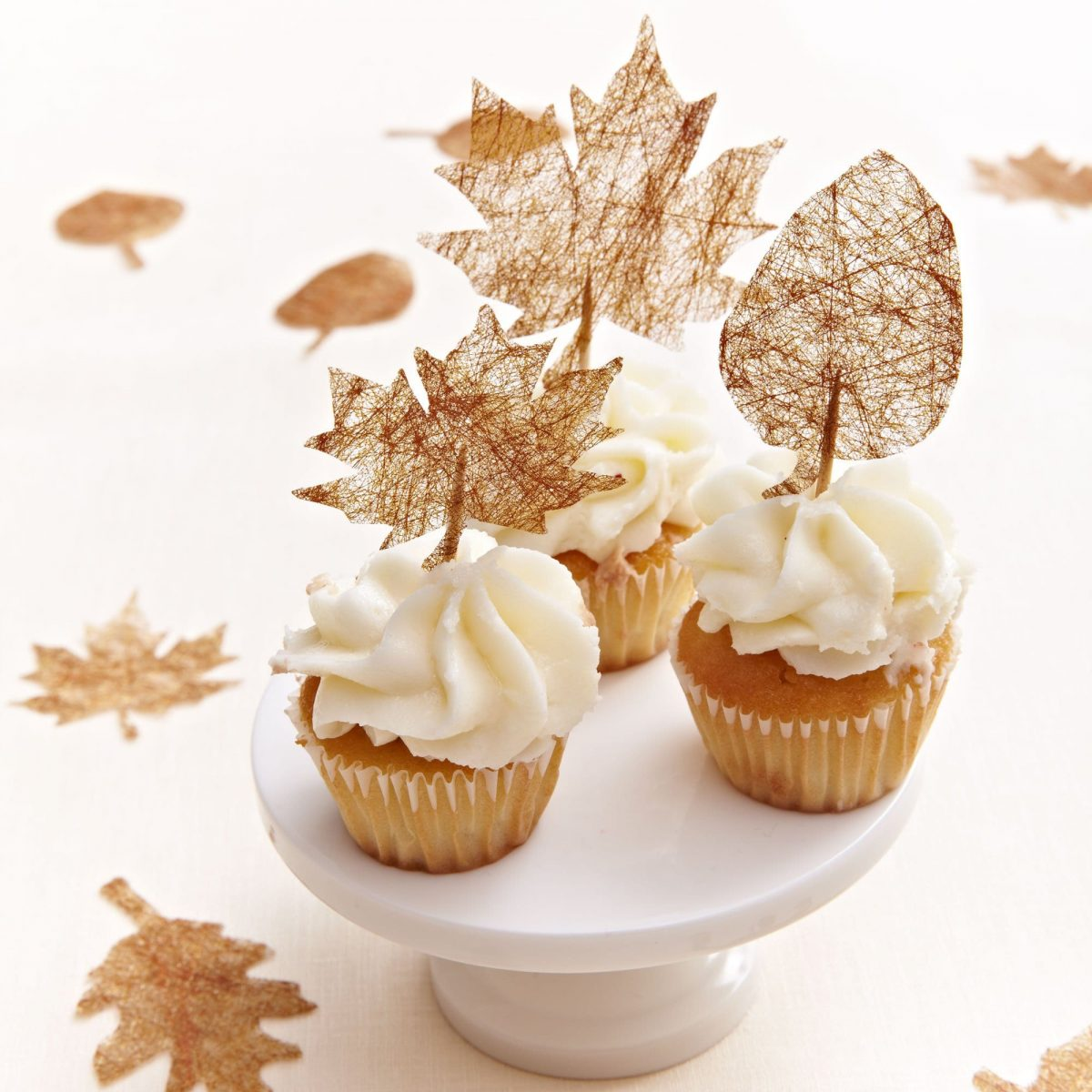 """Darcy Miller Designs """"Gold Leaf"""" Cupcake Toppers Thanksgiving, Cricut, Fall Décor, Autumn Décor, Cupcake Topper, Dessert Display, Cupcakes, Toothpick Craft, Leaf Craft"""