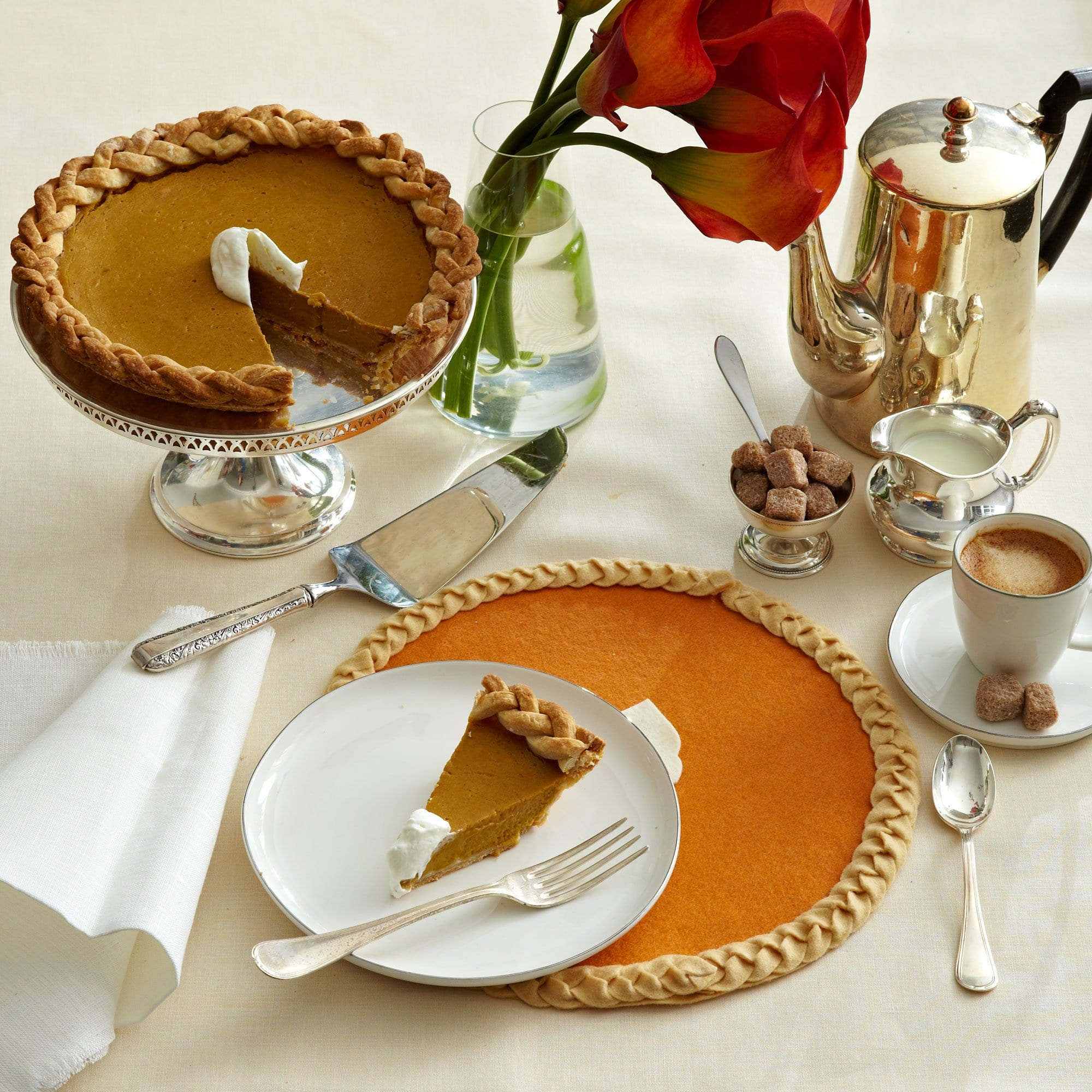 Darcy Miller Designs Felt Pies Thanksgiving, Pie, Pumpkin Pie, Cherry Pie, Felt Craft, Downloadable Template, DIY placemat, DIY Trivet, Coaster, Table Décor