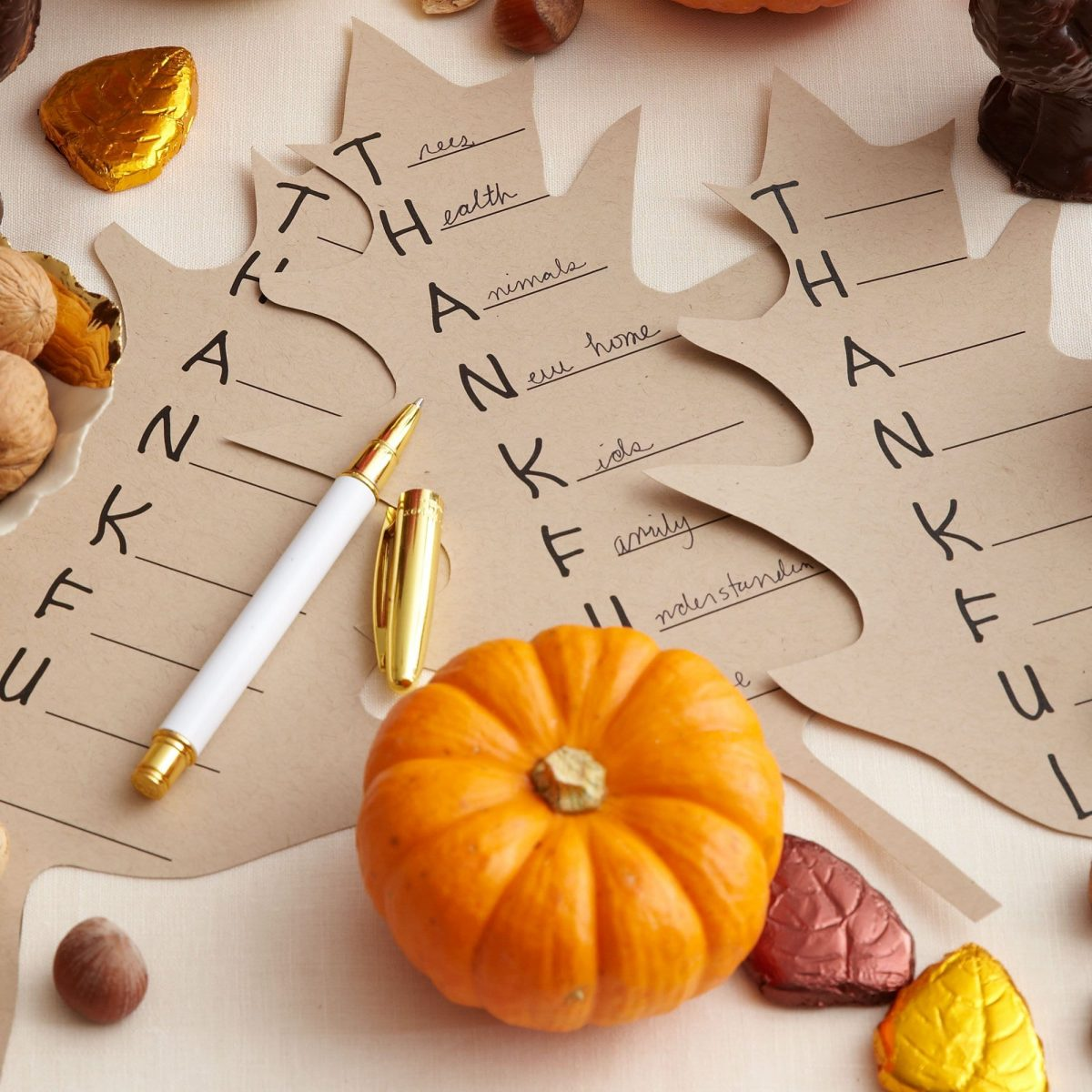 Darcy Miller Designs I am T-H-A-N-K-F-U-L Thanksgiving, Leaf Craft, Paper Craft, Downloadable Template, Thankful, Grateful, Party Game, Toast Prompt, Table Setting