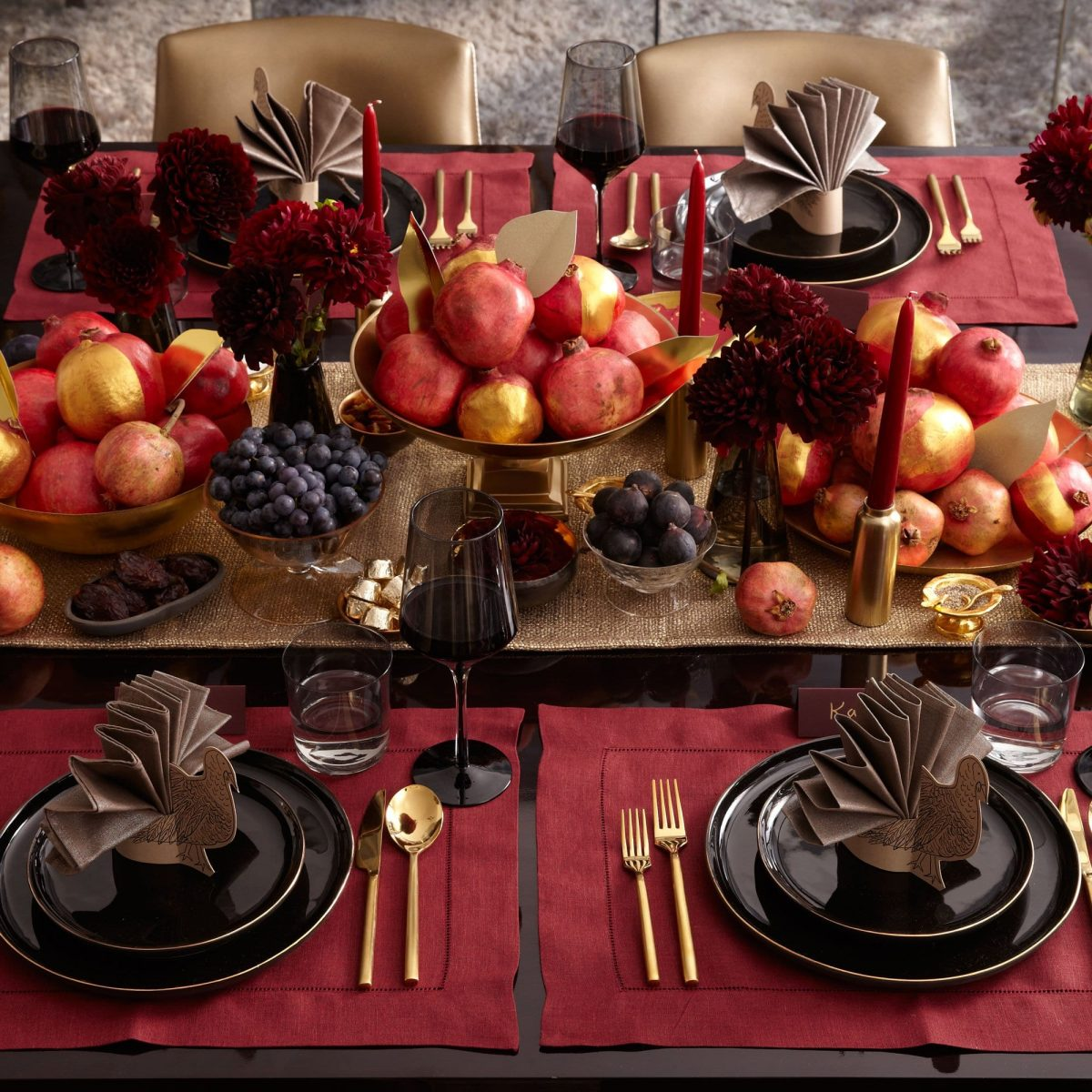 Darcy Miller Designs Pomegranate Thanksgiving Table Thanksgiving, Tablescape, Table Décor, Fall Décor, Autumn Décor, Pomegranate, Table Setting, Centerpiece Inspiration, Gold Paint