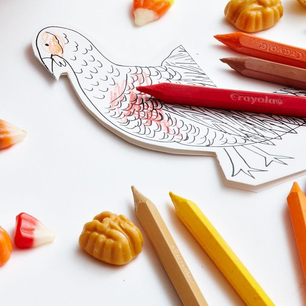 Darcy Miller Designs Turkey Tail Napkin Rings Thanksgiving, Turkey, DIY Napkin Ring, Paper Craft, Downloadable Template, Table Setting, Kids Table, Coloring