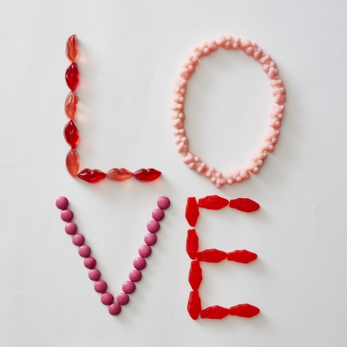 Darcy Miller Designs, L-O-V-E (sweet), After school snack, Valentines, pink candy, red candy, candy art, love note, secret admirer, sweet treat, easy valentine, Darcy Miller, DIY