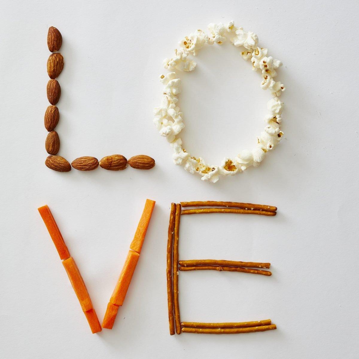 Darcy Miller Designs, L-O-V-E (savory), After school snack, Valentines, healthy treat, pretzels, carrots, popcorn, almonds, nuts, easy valentine, Darcy Miller, DIY