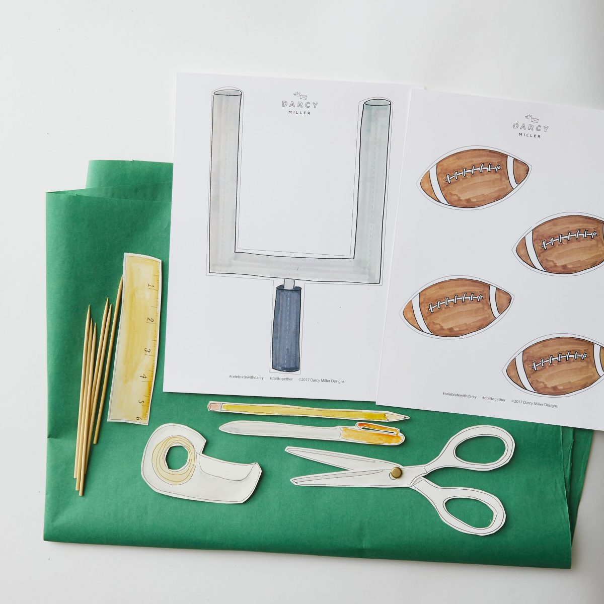 Darcy Miller Designs, Potato Chip Bar, Super Bowl, paper football, goalpost, party pick, paper craft, game day, potato chips, host, hostess, football, football field, snack bar, Darcy Miller, DIY