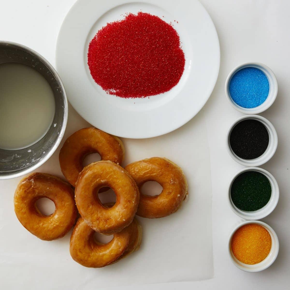 Darcy Miller Designs, Doughnut rings, Olympics, Olympics 2018, PyeongChang, doughnuts, sprinkles, sugar, Olympic rings, snack, breakfast, party, edible craft, Darcy Miller, DIY