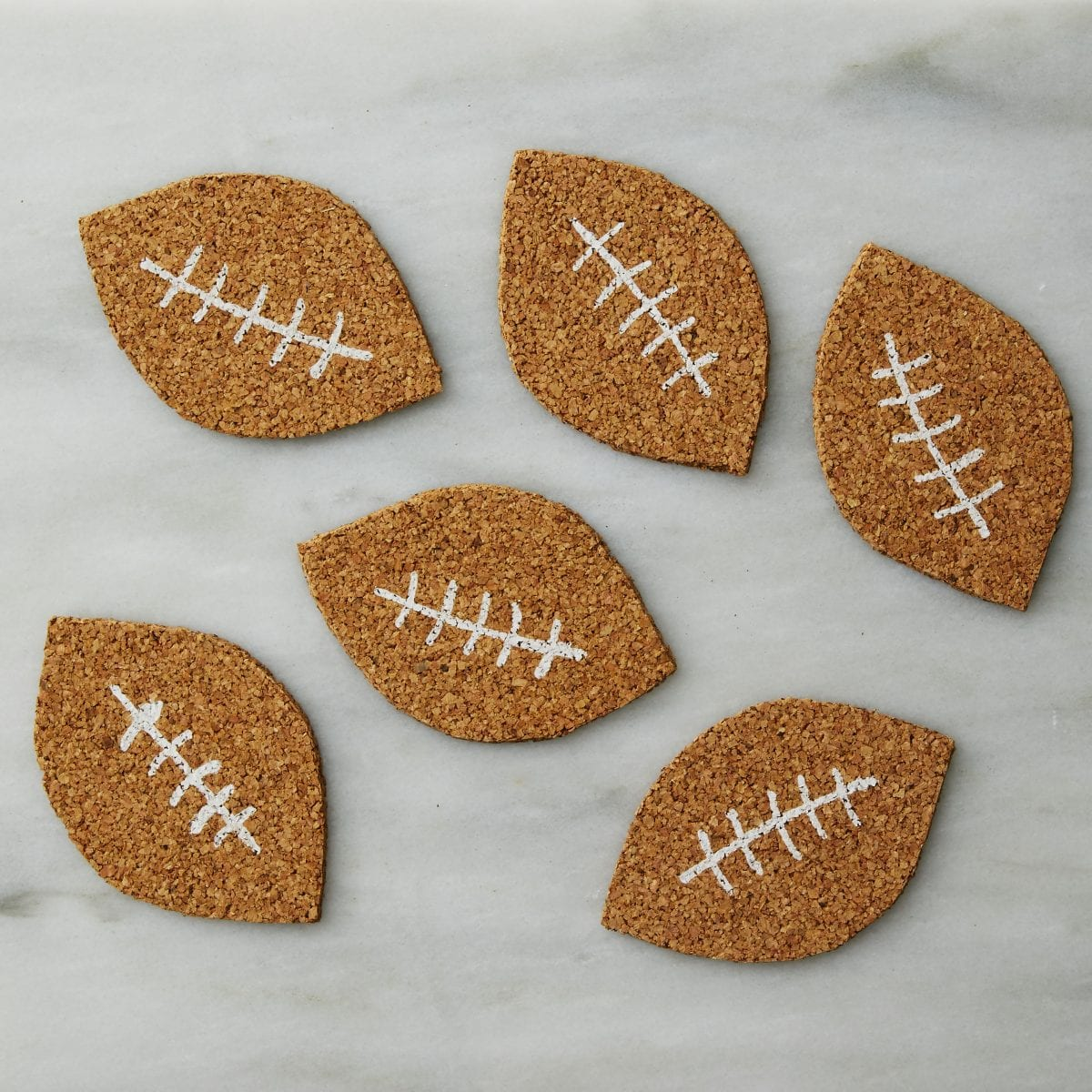 Darcy Miller Designs, Football Coasters, Super Bowl, cork, coaster, football, easy, game day, party, host, hostess, beer, easy craft, Darcy Miller, DIY