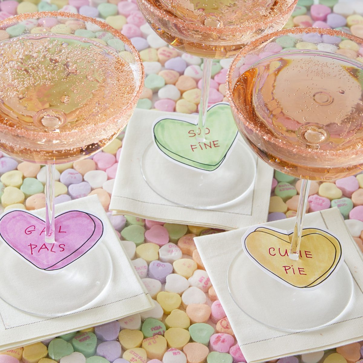 Darcy Miller Designs, Champagne Charms, Valentine, Galentines, wine charm, champagne, conversation heart, paper heart, candy heart, hostess, easy, paper charm, sugar rim, Darcy Miller, DIY