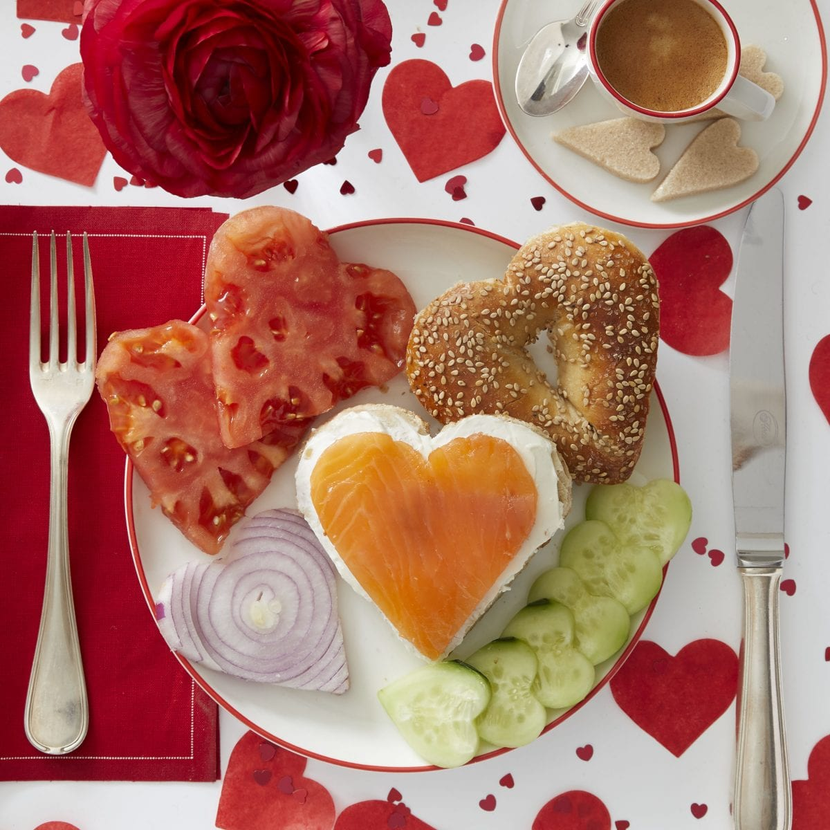 Darcy Miller Designs, Bagel Breakfast, Bagel, cookie cutter, valentines, heart-shaped, lox, cream cheese, cucumber, onion, tomato, bagel bar, brunch, cut out shape, Darcy Miller, DIY