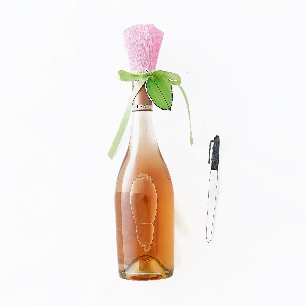 Darcy Miller, Darcy Miller Designs, Mother's Day, bridal shower, baby shower, galentines, girl's night, paper flower, flower craft. Paper craft, downloadable template, wine bottle, Elouan