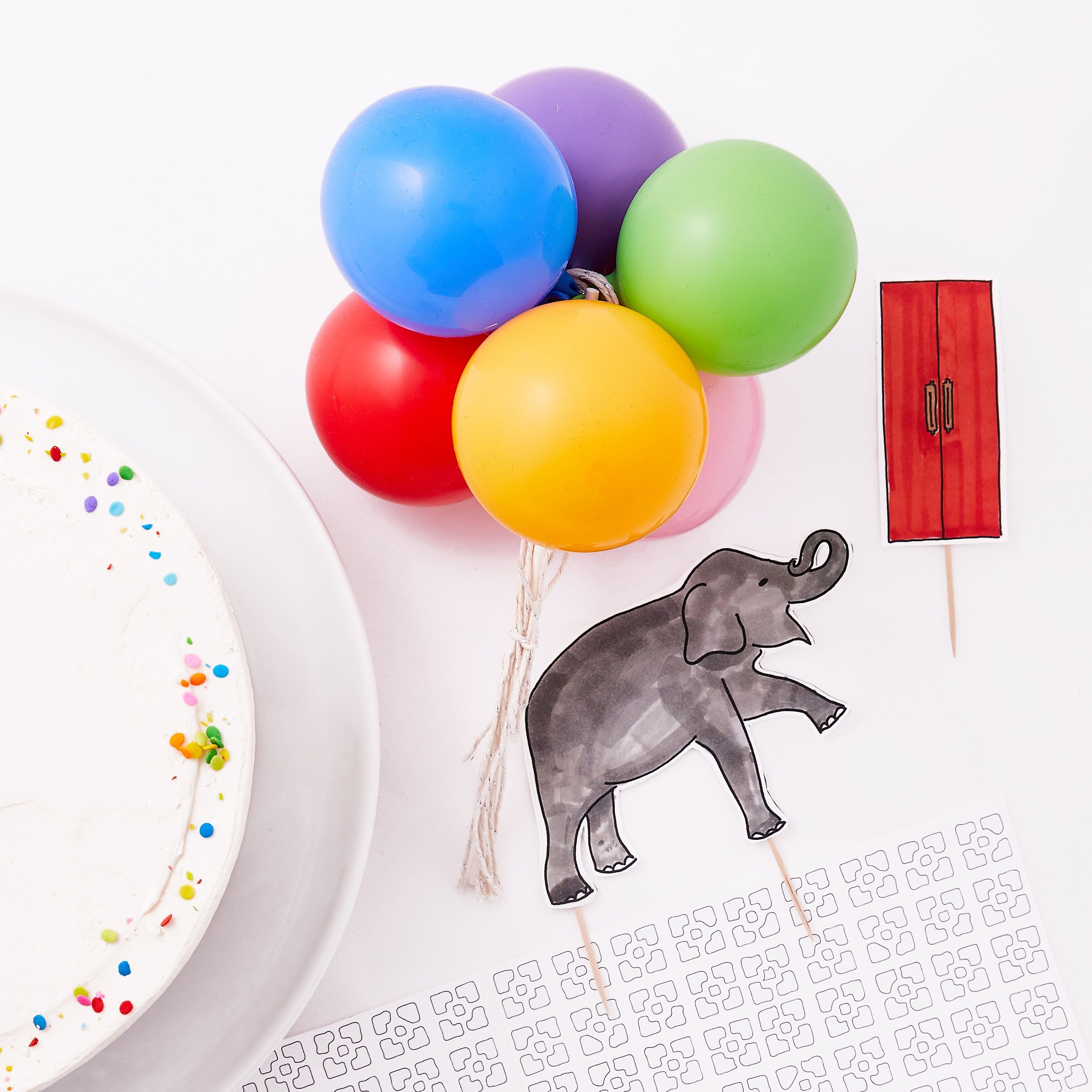 kids party, jungle party, circus party, elephant, paper elephant, cake topper, party décor, printable craft