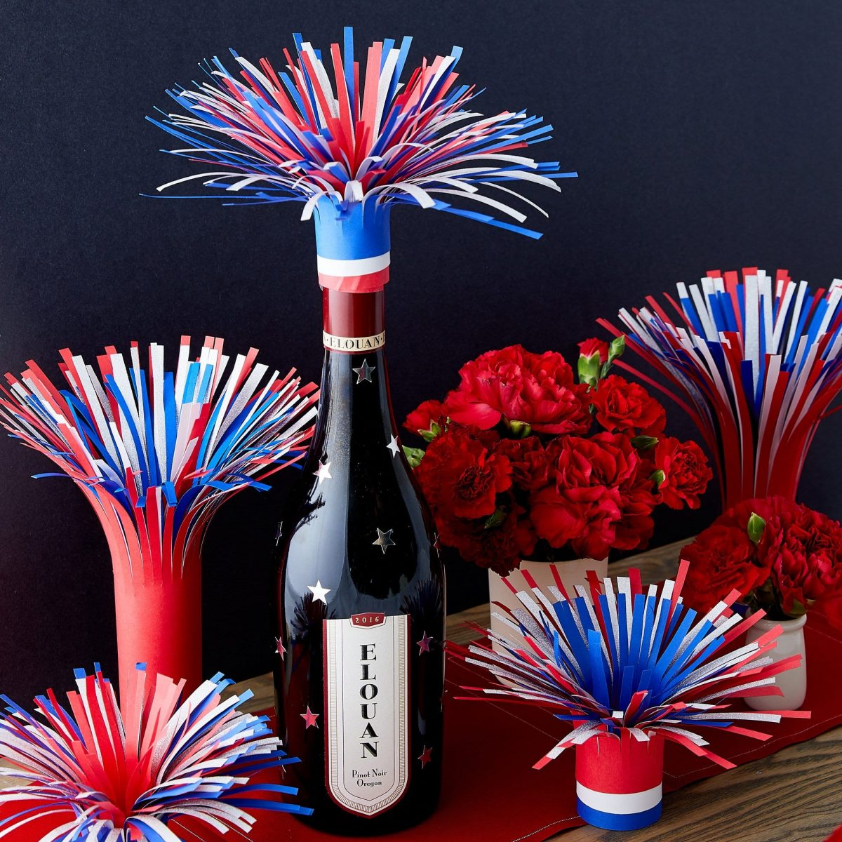 Darcy Miller, Darcy Miller Designs, How to, Template, July Fourth, 4th of July, Party, Wine Bottle