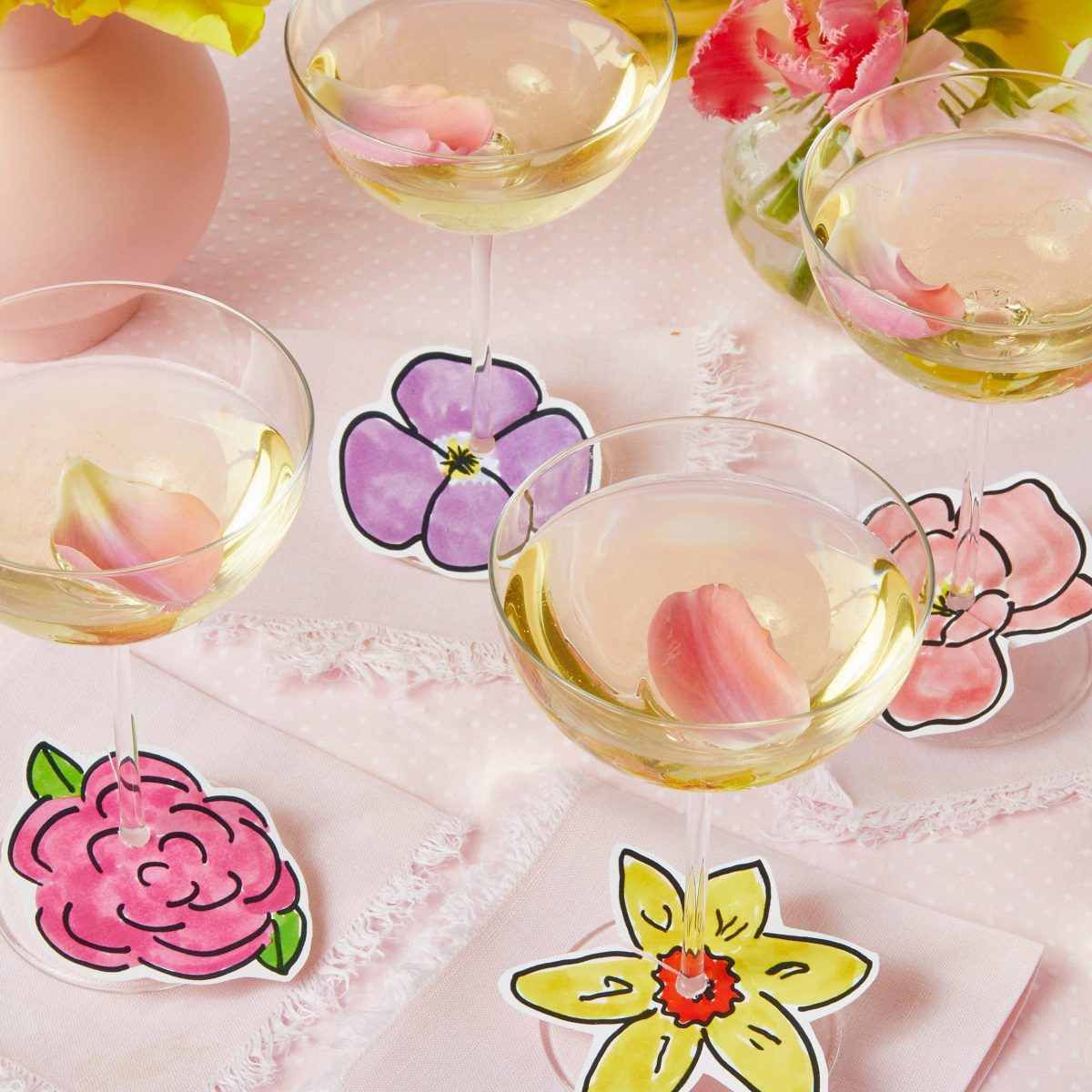 Darcy Miller, Darcy Miller Designs, Flowers, Mothers Day, Napkin Ring, Floral, Pink, Party, wine charms, DIY