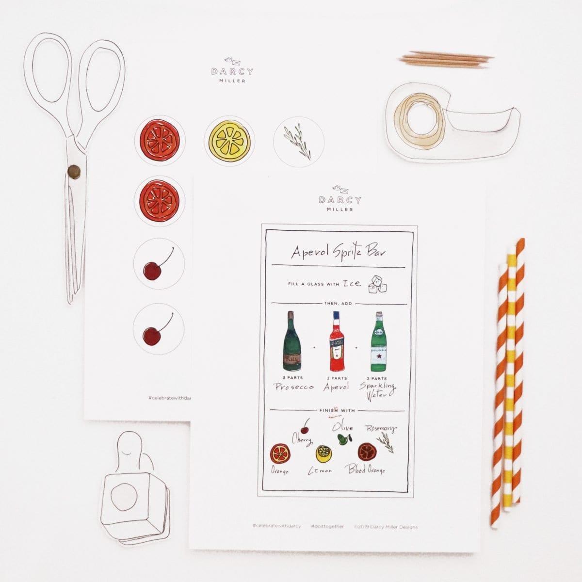 Darcy Miller Designs, Darcy Miller, Spritz Bar, Party, Aperol Spritz, Bridal Shower