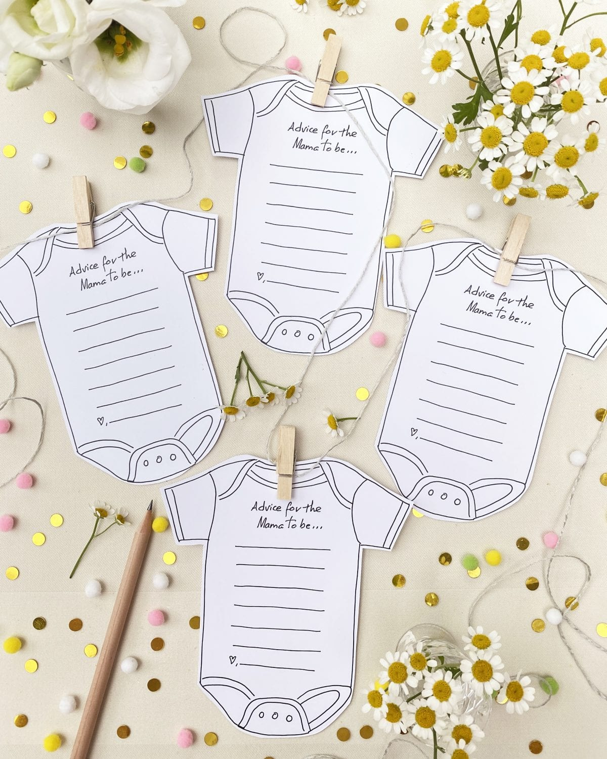 Baby Advice Card, Darcy Miller, Darcy Miller Designs, Baby Shower, Baby Shower Announcement, Baby Shower Games